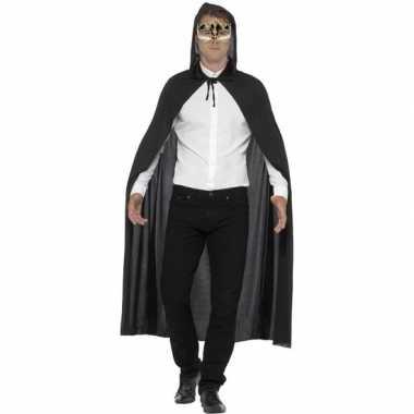 Carnavalspak/halloween zwarte verkleed cape venetiaans muziek oogmask