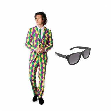 Carnavalspak harlekijn heren pak (xl) gratis zonnebril