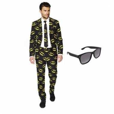 Carnavalspak heren batman pak (s) gratis zonnebril