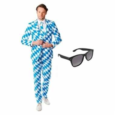 Carnavalspak heren beierse pak (xl) gratis zonnebril