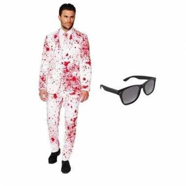 Carnavalspak heren bloed pak (s) gratis zonnebril