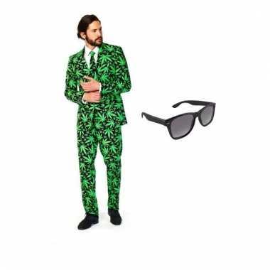 Carnavalspak heren cannabis pak (xl) gratis zonnebril