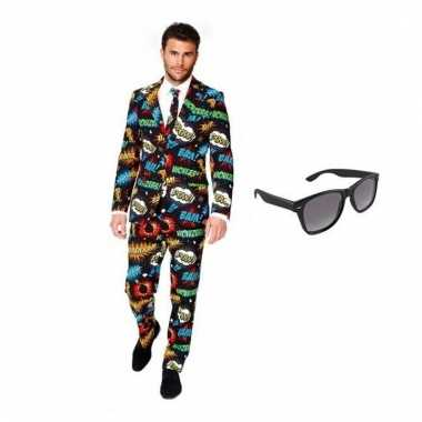Carnavalspak heren comic pak (l) gratis zonnebril