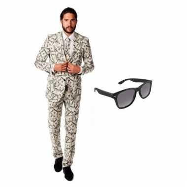 Carnavalspak heren dollar pak (m) gratis zonnebril