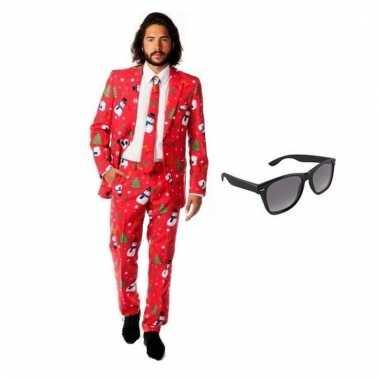 Carnavalspak heren kerst pak (l) gratis zonnebril