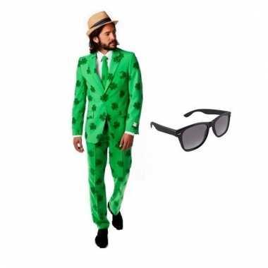 Carnavalspak heren klavertjes pak (xl) gratis zonnebril