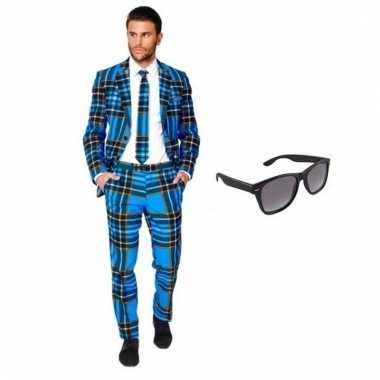 Carnavalspak heren schotse pak (xl) gratis zonnebril