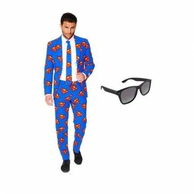 Carnavalspak heren superman pak (s) gratis zonnebril