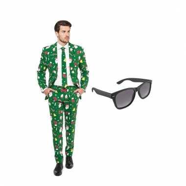 Carnavalspak kerst heren pak (l) gratis zonnebril