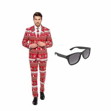 Carnavalspak kerstboom heren pak (xl) gratis zonnebril