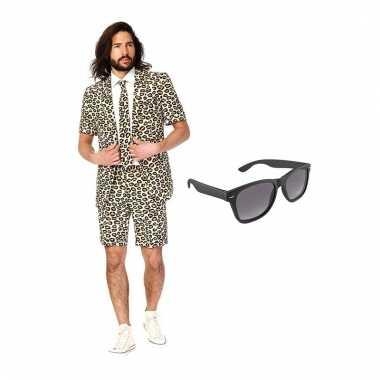 Carnavalspak luipaard heren pak (l) gratis zonnebril