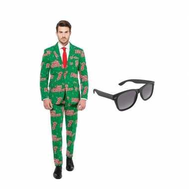 Carnavalspak merry christmas heren pak (xxl) gratis zonnebril