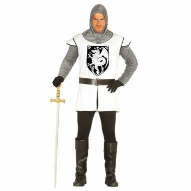 Carnavalspak middeleeuwse ridder wit heren