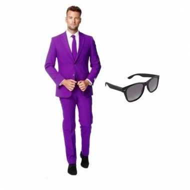 Carnavalspak paars heren pak (s) gratis zonnebril