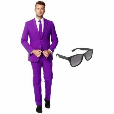 Carnavalspak paars heren pak (xxxl) gratis zonnebril