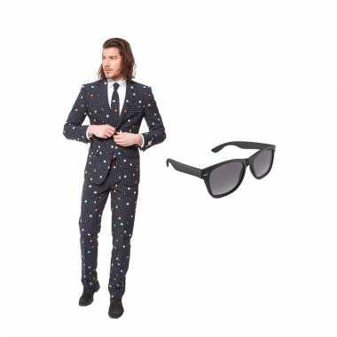 Carnavalspak pac man heren pak (s) gratis zonnebril