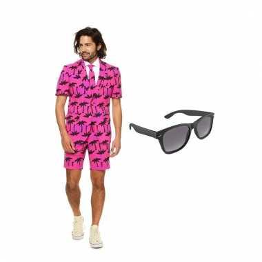 Carnavalspak palmbomen zomer heren pak (l) gratis zonnebril