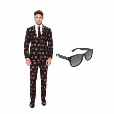 Carnavalspak pompoen heren pak (l) gratis zonnebril