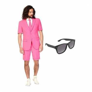 Carnavalspak roze heren pak (s) gratis zonnebril