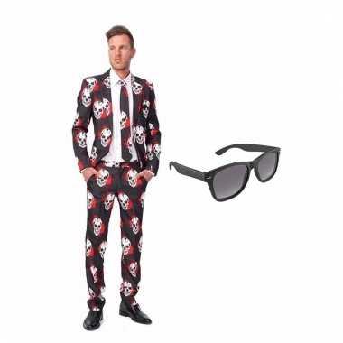 Carnavalspak schedel heren pak (s) gratis zonnebril