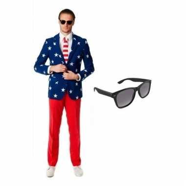 Carnavalspak usa heren pak (l) gratis zonnebril