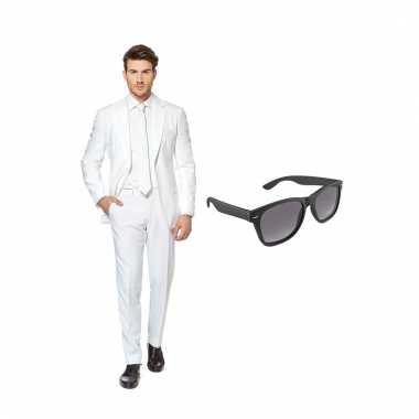 Carnavalspak wit heren pak (xxxl) gratis zonnebril
