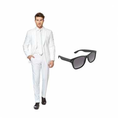 Carnavalspak wit heren pak (xxxxl) gratis zonnebril