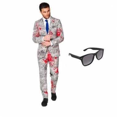 Carnavalspak zombie heren pak (s) gratis zonnebril