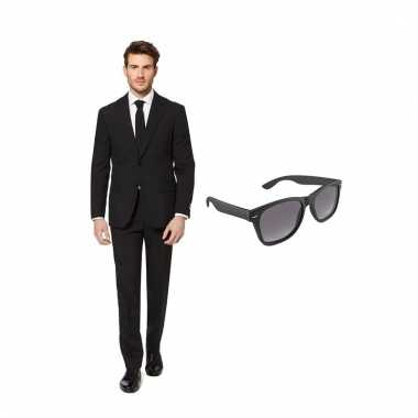 Carnavalspak zwart heren pak (s) gratis zonnebril
