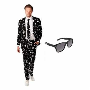 Carnavalspak zwart heren pak (xl) gratis zonnebril
