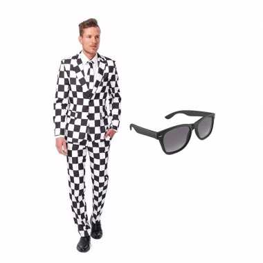 Carnavalspak zwart/wit geblokt heren pak (l) gratis zonnebril