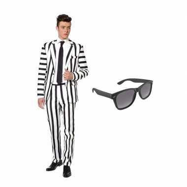 Carnavalspak zwart witte strepen heren pak l gratis zonnebril