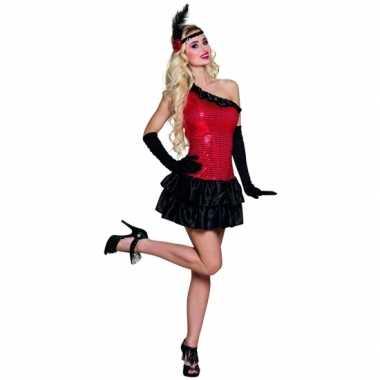 Charleston carnavalspak rood zwart