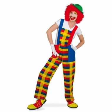 Clown verkleedcarnavalspak tuinbroek