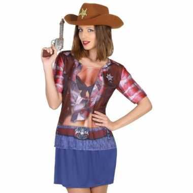 Cowboy shirt verkleedcarnavalspak dames