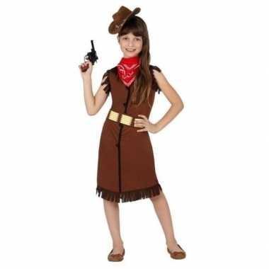 Cowboy western carnavalspak jurkje bruin meisjes