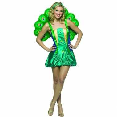 Dames carnavalspak pauw groen