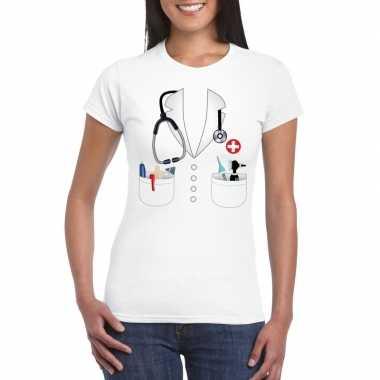 Dokters carnavalspak t shirt wit dames