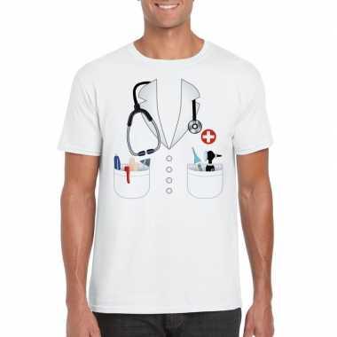 Dokters carnavalspak t shirt wit heren