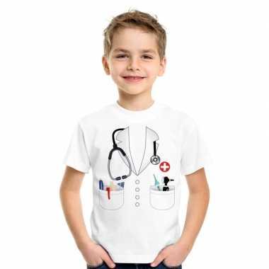 Dokters carnavalspak t-shirt wit kinderen