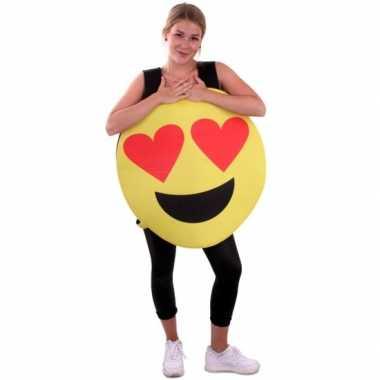 Emoticon instap carnavalspak hartjes ogen volwassenen