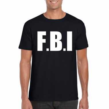 Fbi carnaval t shirt zwart heren