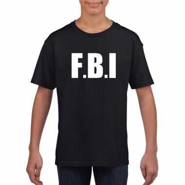 Fbi carnaval t-shirt zwart jongens meisjes
