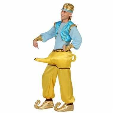Geest uit lamp carnavalspak goud/blauw heren