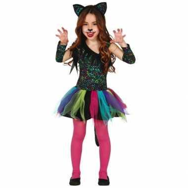 Gekleurd katten carnaval / halloween pakje meisjes