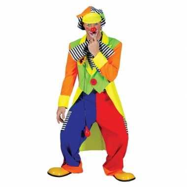 Gekleurde heren clown carnavalspak