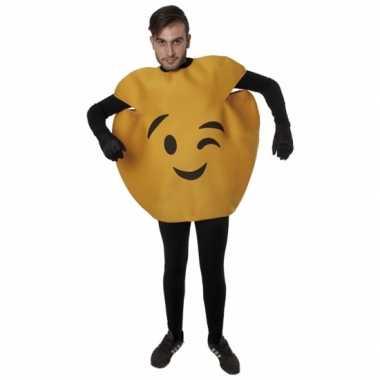 Gele knipoog emoticon carnavalspak volwassenen