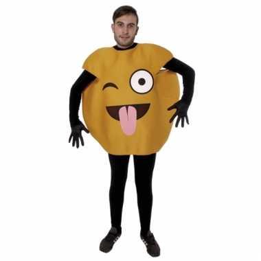 Gele knipoog tong emoticon carnavalspak volwassenen