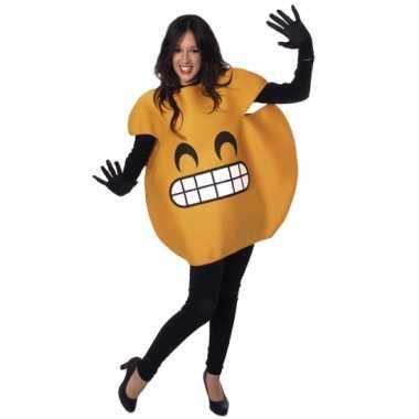 Gele lachende emoticon carnavalspak volwassenen