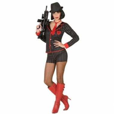Goedkoop gangster carnavalspak dames